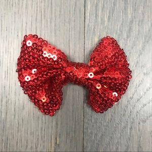 Women's Girls Red Sequin Bow Hair Barrette Clip